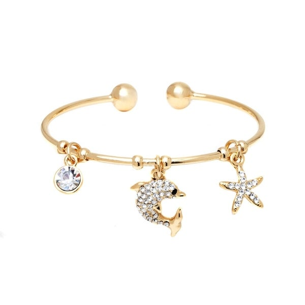 Goldplated Crystal Elements Charm Bangle