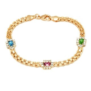 Peermont Jewelry 18k Gold Overlay Multi-gemstone Crystal Elements Bracelet