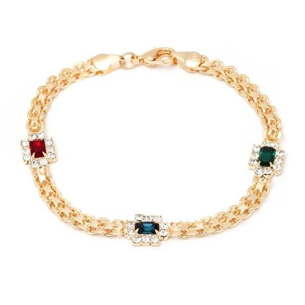 Shop Gold Overlay Multi-gemstone Frame Bracelet - Free Shipping On ...