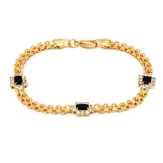 Peermont Jewelry 18k Goldplated Black/ Clear Crystal Frame Bracelet