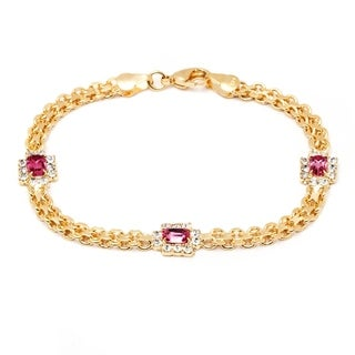 Peermont Jewelry 18k Goldplated Rose Crystal Frame Bracelet
