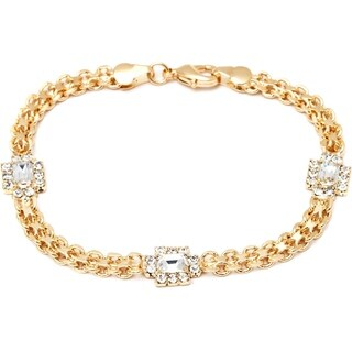 Peermont Jewelry Goldplated Clear Crystal Frame Link Bracelet