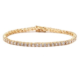Goldplated Round-cut White Crystal Tennis Bracelet