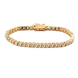 Peermont Jewelry Goldplated Round-cut White Crystal Twist Tennis Bracelet