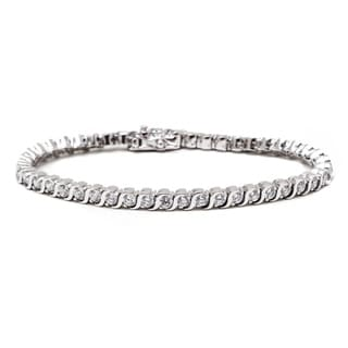 Peermont Jewelry 18k White Goldplated Round-cut Crystal Tennis Bracelet