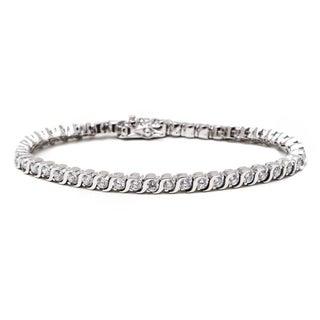 Rhodium Plated Round-cut Crystal Tennis Bracelet