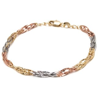 Peermont Jewelry 18k Tri-color Gold Overlay Diamond-cut Wire Chain Bracelet
