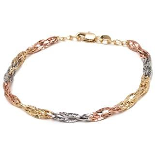 Tri-color Gold Overlay Diamond-cut Wire Chain Bracelet