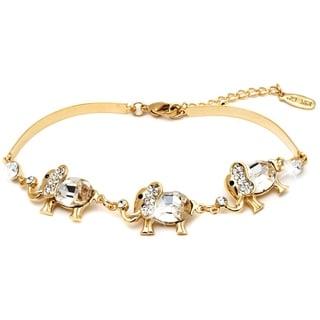 Peermont Jewelry 18k Gold-plated Triple Crystal Elephant Bracelet