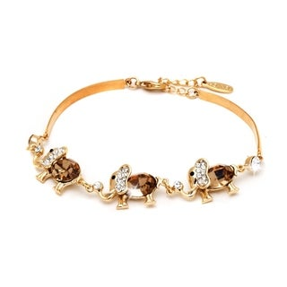 Peermont Jewelry 18k Yellow Gold Overlay Topaz Crystal Triple Elephant Bracelet