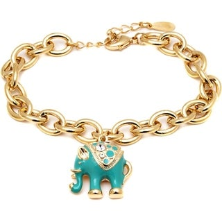 Gold-plated Blue Elephant Charm Bangle