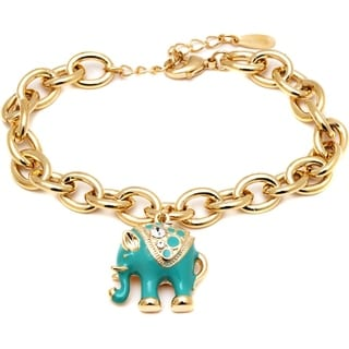 Peermont Jewelry 18k Gold-plated Blue Elephant Charm Bangle