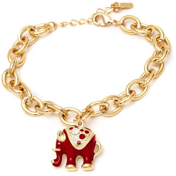 Gold-plated Red Elephant Charm Bangle