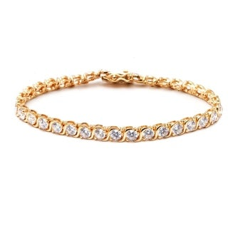 Peermont Jewelry Goldplated Round-cut White Crystal Tennis Bracelet