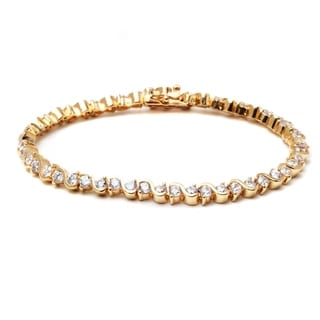 Peermont Jewelry 18k Goldplated Austrian Crystal Elements Round-cut Swirl Tennis Bracelet