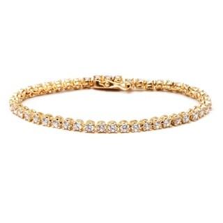 Goldplated Austrian Crystal Elements Round-cut Tennis Bracelet
