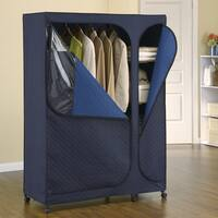 Sapphire Dark Blue Metal and Bamboo Carbon Storage Armoire