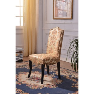 Classic Floral Pattern Parson Dining Chairs with nailhead trim (Set of 2)