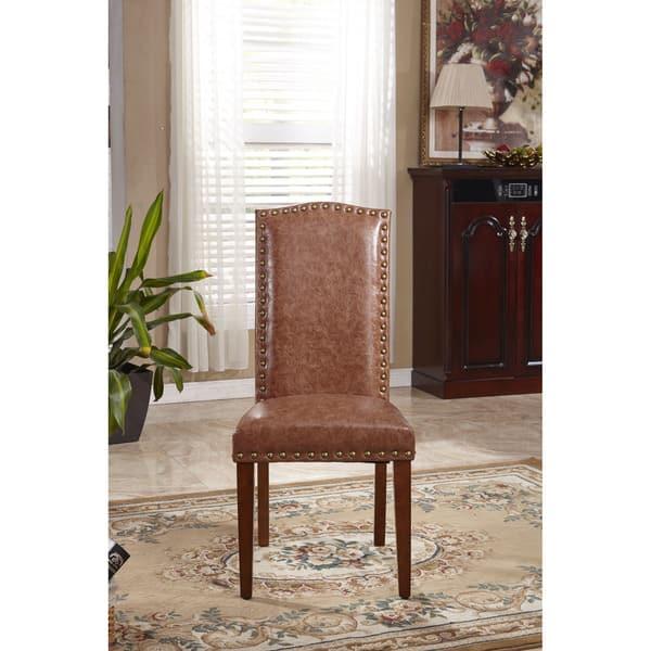 Excellent Shop Classic Faux Leather Parson Chairs With Nailhead Trim Creativecarmelina Interior Chair Design Creativecarmelinacom