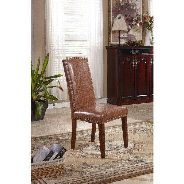Classic Faux Leather Parson Chairs With Nailhead Trim (Set Of 2)   Free  Shipping Today   Overstock.com   17125471