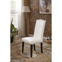 Classic Faux Leather Parson Chairs with Nailhead Trim (Set of 2)