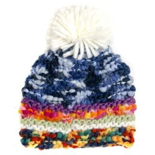 Crummy Bunny Hand-knit Multicolor Pom Pom Winter Beanie