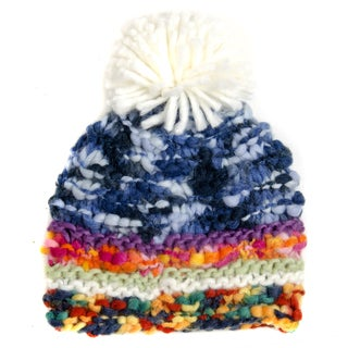 Crummy Bunny Hand-knit Multicolor Pom Pom Winter Beanie (2 options available)