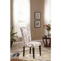 Elegant Parson Borwn Gold Floral Fabric Dining Chair (Set of 2)