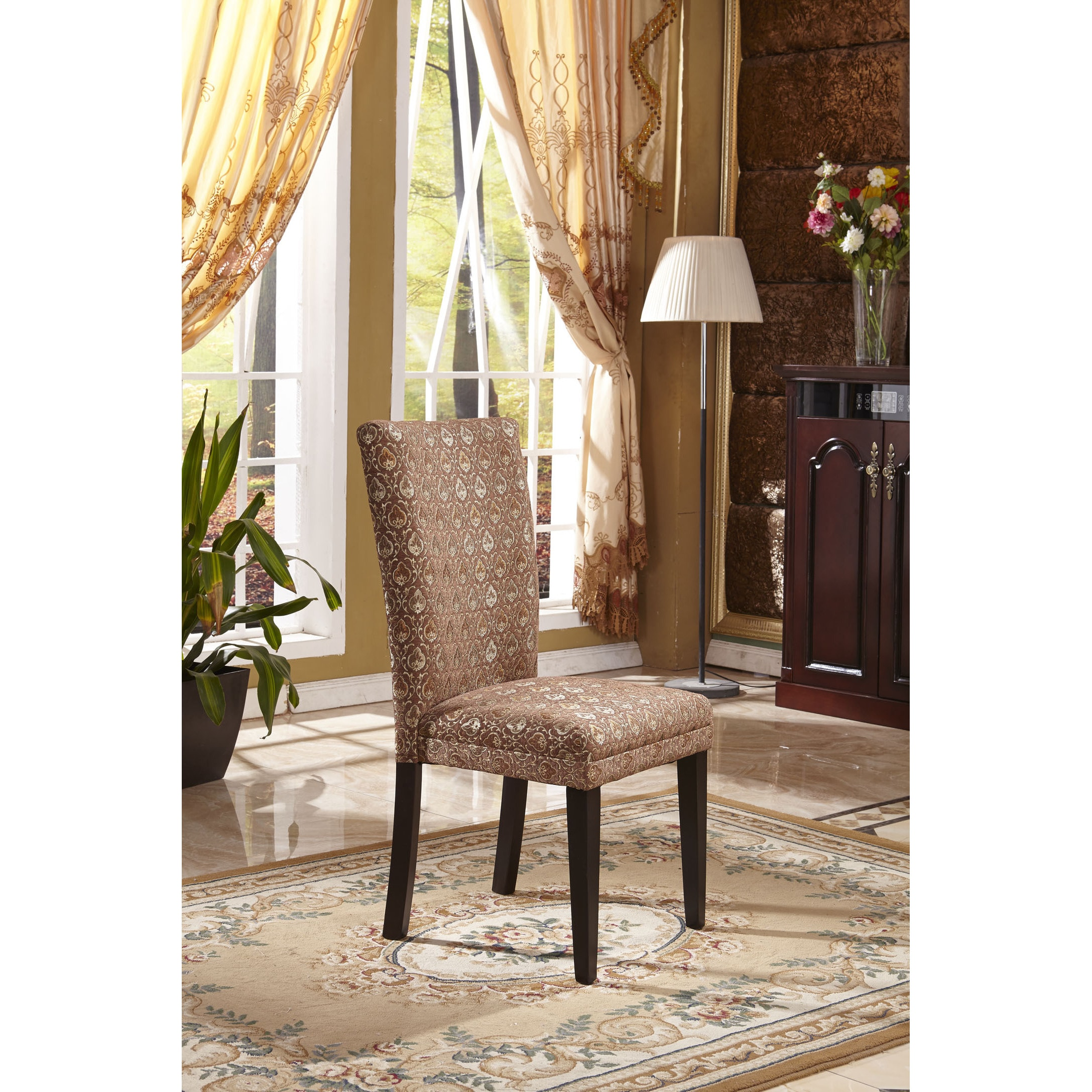 Shop Classic Parson Red Gold Damask Fabric Dining Chair Set Of 2 Overstock 9972858