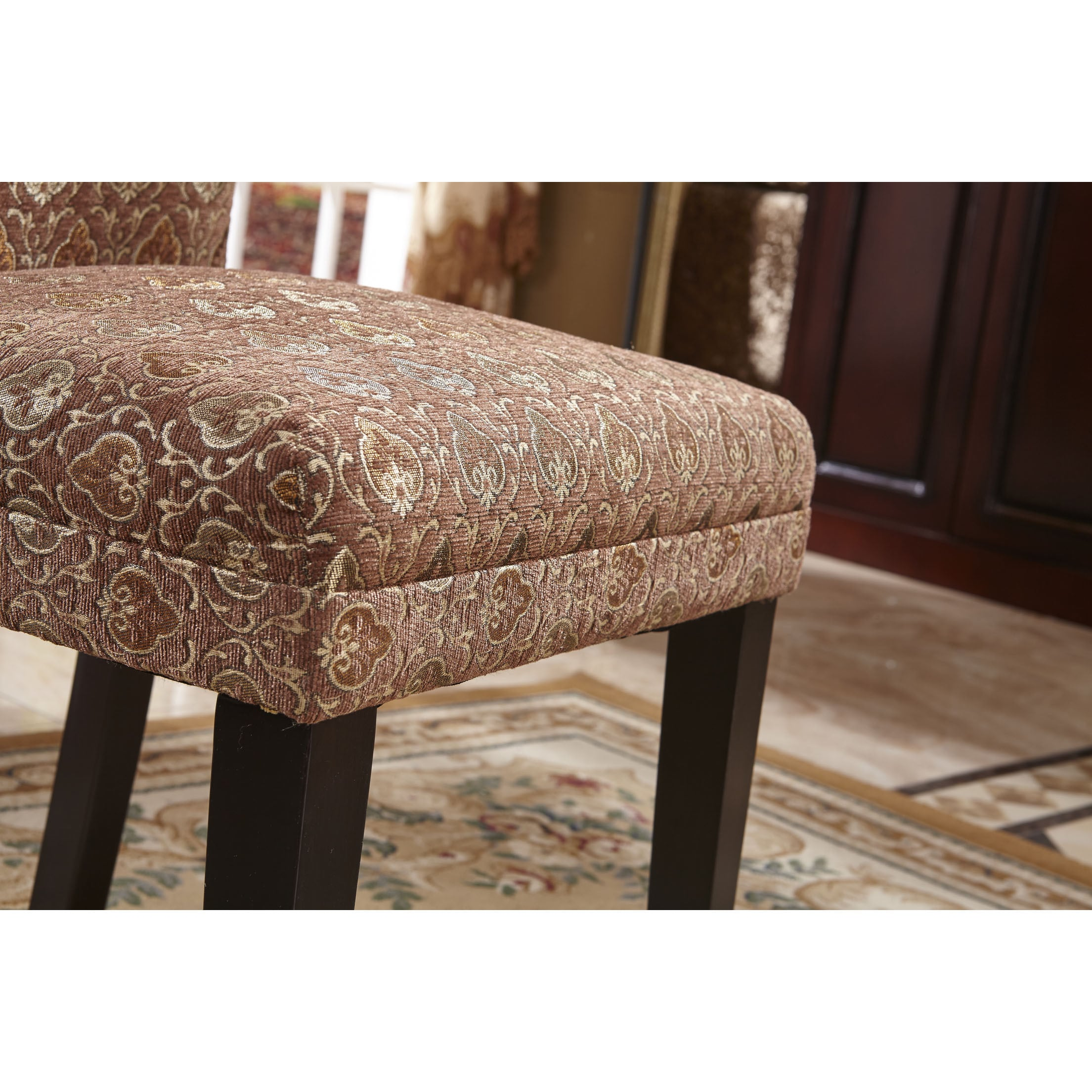 Picture of: Shop Classic Parson Red Gold Damask Fabric Dining Chair Set Of 2 Overstock 9972858