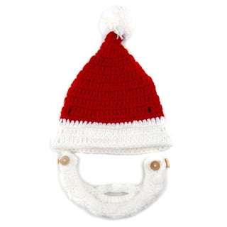 Crummy Bunny Hand-knit Santa Beanie with Removable Beard
