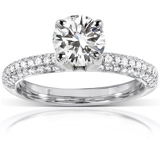 Annello 14k White Gold Round-cut Forever Brilliant Moissanite 1/4ct TDW Diamond Engagement Ring (G-H, I1-I2)