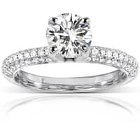 Annello by Kobelli 14k White Gold 1 3/4ct TGW Round-cut Moissanite (FG) and Micro Pave Diamond (GH) Engagement Ring