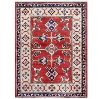 Herat Oriental Afghan Hand-knotted Tribal Kazak Red/ Ivory Wool Rug (2'9 x 3'8)