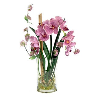Lavender Orchid Silk Floral Bouquet with Vase