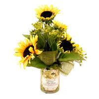 Sunflower Silk Bouquet with Chardonnay Decoupage Glass