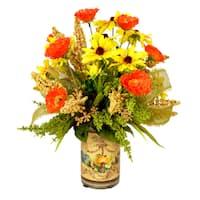 Orange Poppy and Yellow Daisy Flowers with Burlap Ribbon Pot