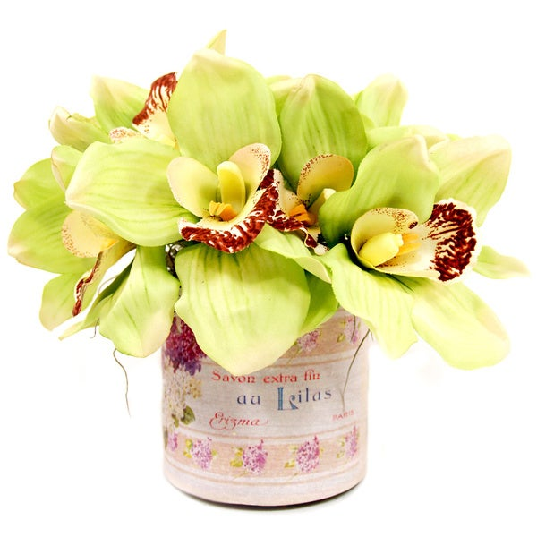 Shop Cymbidium Orchid Silk Flowers In French Labelled Glass
