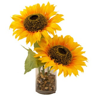 Silk Sunflower Bouquet with Cylinder Vase