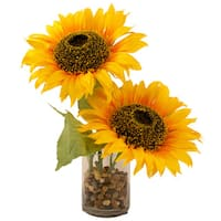 Silk Sunflower Bouquet with Cylinder Vase