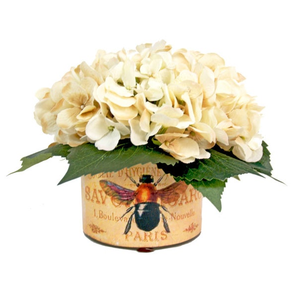Shop White Hydrangea Silk Flowers In French Bee Labeled Glass Vase