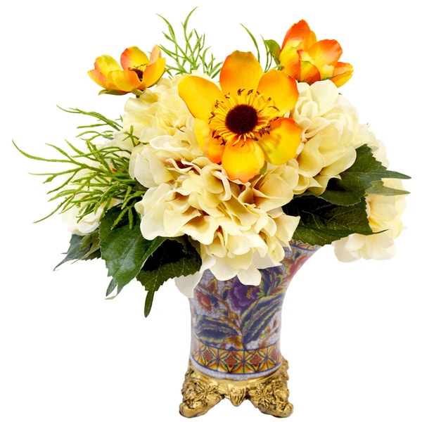 Yellow poppy and yellow hydrangea silk flowers in multi colored yellow poppy and yellow hydrangea silk flowers in multi colored ceramic footed pot mightylinksfo