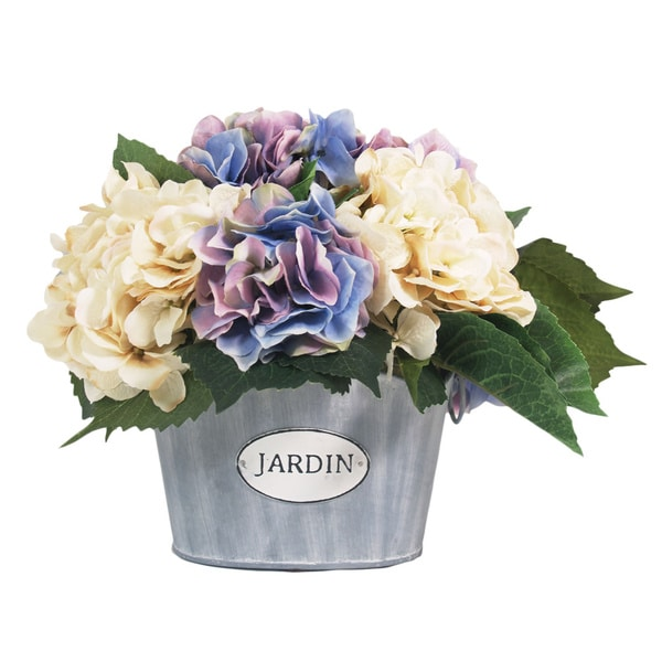 Hydrangea Silk Bouquet with Metal Container