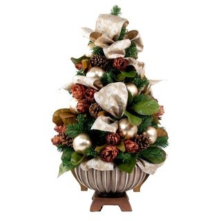 Christmas Tree Silver/ Cream Ribbon Floral Arrangement with Brown Urn