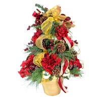 Christmas Tree Silk Floral Arrangement with Clay Container - burgundy