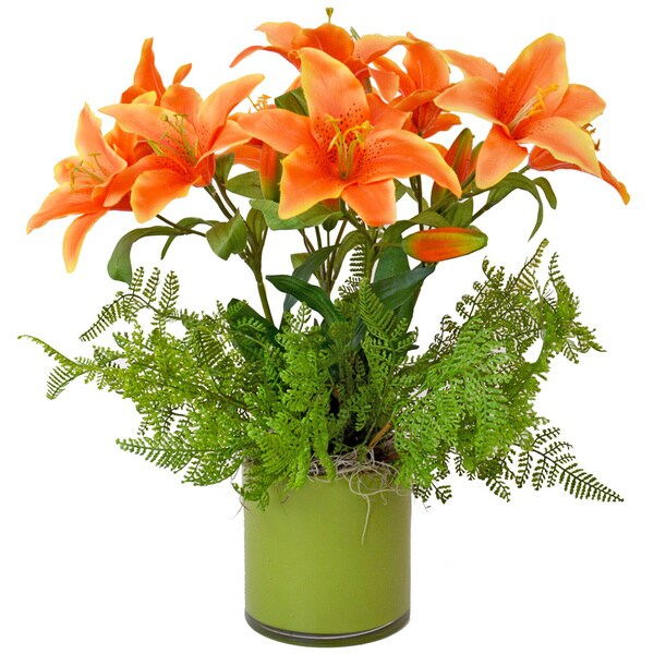 Creative Displays Orange Tiger Lily/ Fresh Ferns in Green Glass Cylinder