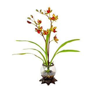 Creative Displays Red/ Green Cymbidium Orchid in Acrylic Water in Glass/ Iron Embellished Vase
