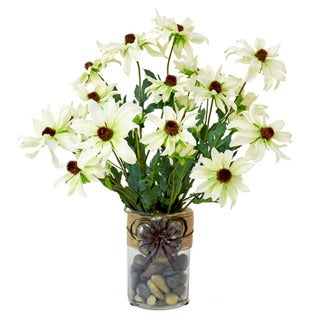 Creative Displays Faux White Daisy Floral Vase Decoration