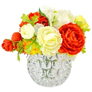 Creative Displays Multi-colored Zinnia/ Hydrangea in Embellished Glass Container