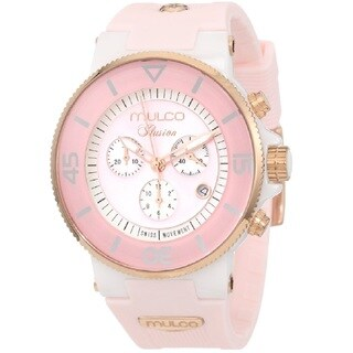 Mulco Women's 'Ilusion Ceramic' Chronograph Pink Rubber Watch